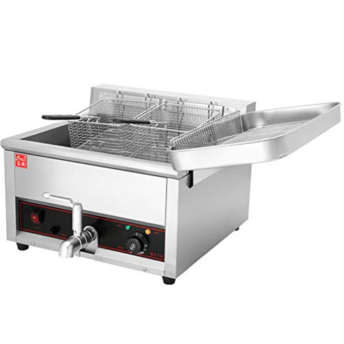 17L Electric Fryer Deep Fat Fryer, Commercial Countertop Oil Fryer with basket, Chip Fryers Electric Pan for Home and Commercial