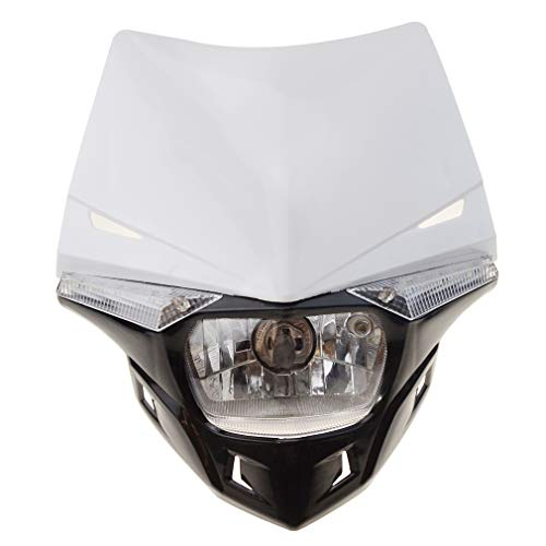 GOOFIT Faro Delantero Moto, H4 LED Universal 12V 35W Homologado Supermoto Motocross para Bicicleta Cafe Racer ATV Blanco