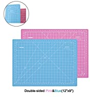 "ZERRO Self Healing Cutting Double-Sided Rotary Mat Non-Slip 5-Ply Thick 9"" x 12"" Pink/Blue(A4)"