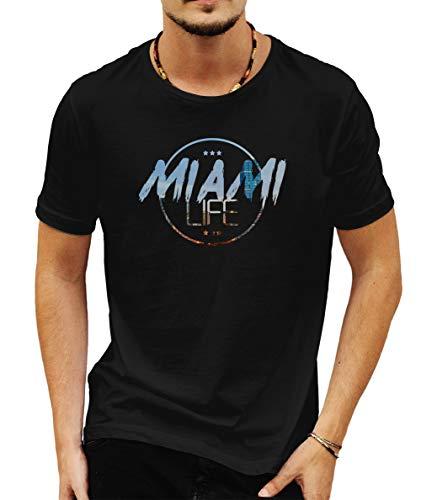 Wild Soul Tees Miami Life City Florida Estados Unidos - Camiseta para Hombre Negro Negro (L