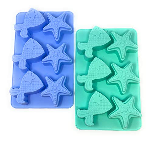 2 Pack Mermaid Tail & Seashell Silicone Molds for Making Cakes, Candy, Bath Bombs, Chocolates, Fondant, Ice Cubes: Colors May Vary: Mermaid or Under the Sea Birthday Themed Party