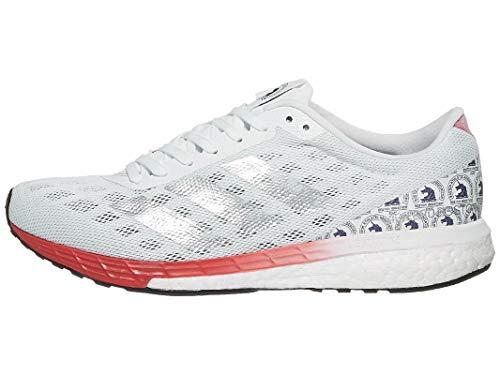 adidas Womens Adizero Boston 9 FTWR White/Silver MET./Scarlet 8.5