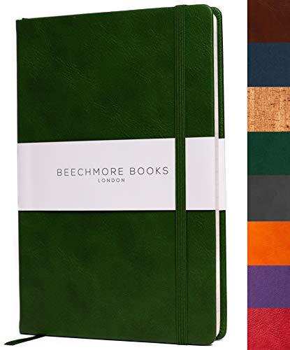 Liniertes Notizbuch - Hochwertiges Tagebuch A5 von Beechmore Books | Flexibler Einband Veganes Leder, Dickes Cremefarbenes Papier 120 g/m², Notizbuch in Geschenkschachtel, 21 x 15 cm (Grün)
