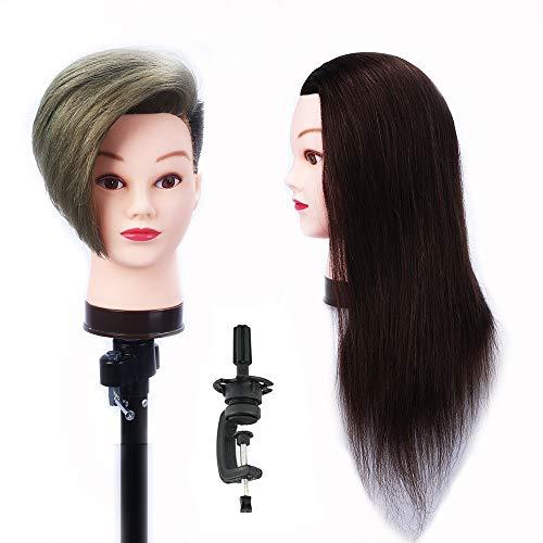 HAIREALM Testa Studio Manichini 100% Capelli Veri Parrucchiere Cosmetologia Formazione Manichino Pratica Modello Con Morsetto EHJ0414P