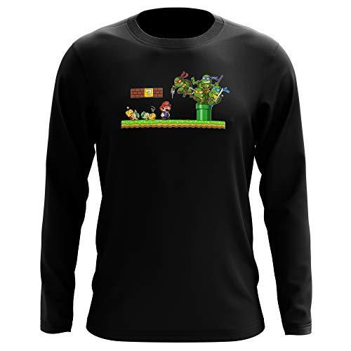 T-shirt manches longues Noir parodie Tortues Ninja - Super Mario - Leonardo, Raphael, Donatello, Michelangelo et Mario - La revanche des Tortues (Super Deformed Edition) (T-shirt de qualité premiu