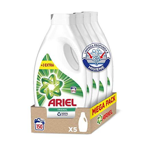 Ariel Original - Detergente líquido para la lavadora, 150 lavados (5 x 27 + 3)