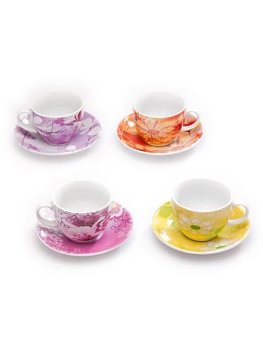 Tognana Iris Bois De Confezione 4 Tazze The, Porcellana, Multicolore, 1