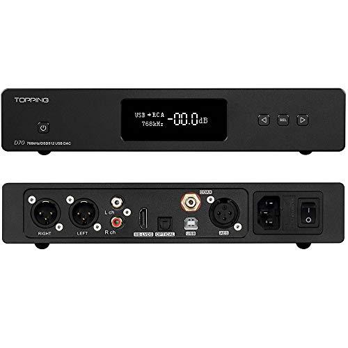 Topping D70 DAC AK4497 * 2 XMOS XU208 USB DSD512 Nativo 32Bit / 768kHz Balance XLR Descifrador con Control Remoto (Negro)