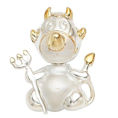 JOBO Anhänger Teufel 925 Sterling Silber teilvergoldet teilmattiert