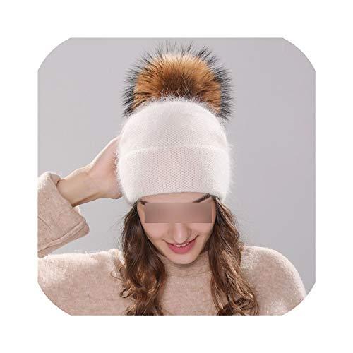 licht Saber DUN Nieuwe Damesmuts Winter Beanie Gebreide muts Angola Konijn Bont Bonnet Meisjes muts Herfst Vrouwelijke Cap met Bont pom pom