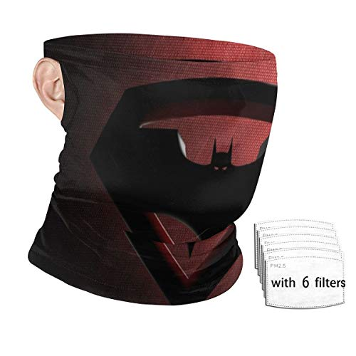 Batm-an Vs Superm-an Unisex Neck Gaiter Bandanas with Ear Loops Masks Sports Scarf Balaclava for Dust with Filters Reusalbe Headband Face Coverings with 6 Filter