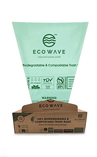 ECO WAVE 100% Compostable Bin Liners, 2.6 Gallons, 100 Bags