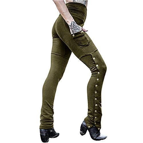 Pantalones De Lápiz Abierto para Tenedor Mujer Remaches Festivo Pantalones De Moda Sexy Primavera De Cintura Alta con Bolsillos Pantalones Casuales Transpirables Delgados Elásticos