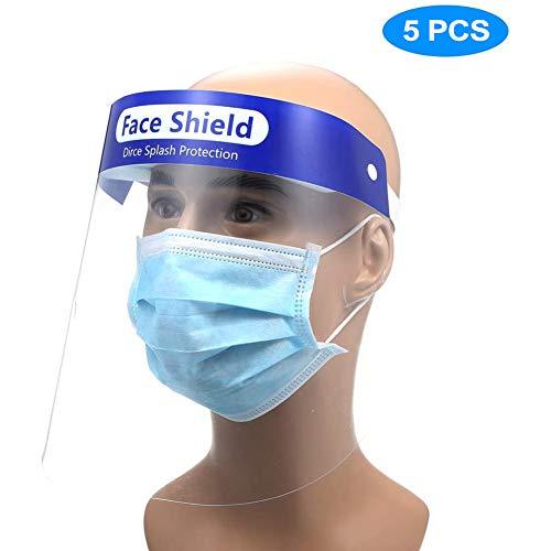 Deyard Protector facial de seguridad Tapa de protecci/ón completa Lente anti-vaho resistente a la visera amplia Lente facial transparente ajustable ligera para hombres Mujeres