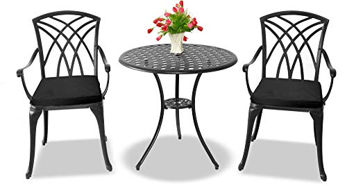 Centurion Supports OSHOWA Garden & Patio Table & 2 Large Chairs with Armrests Cast Aluminium Bistro Set