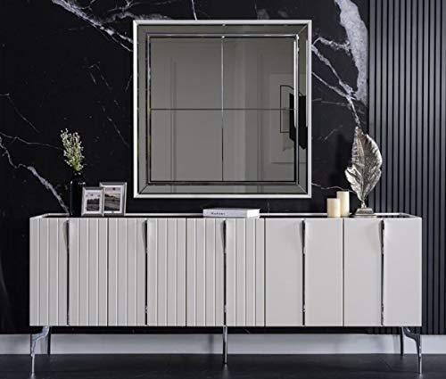 Casa Padrino aparador Art Decó de Lujo Blanco/Negro/Plata 208 x 44 x A. 84 cm - Armario Noble con 5 Puertas - Muebles Art Deco