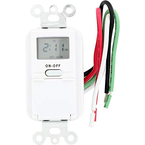 AmerTac TMDW10 Westek Hardwire Indoor Digital Wall Switch Timer, White