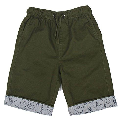 Bienzoe Boy's Cotton Twill Elastic Waist Shorts Green Size 7