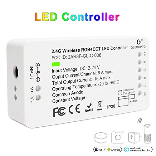 GLEDOPTO LED Strips Controller Zigbee RGB CCT 2ID Smart Dimmer Compatible with Zigbee Hub Smart Phone App Control Voice Control, for DC12-24V Whole House Intelligence(Zigbee Hub Required)