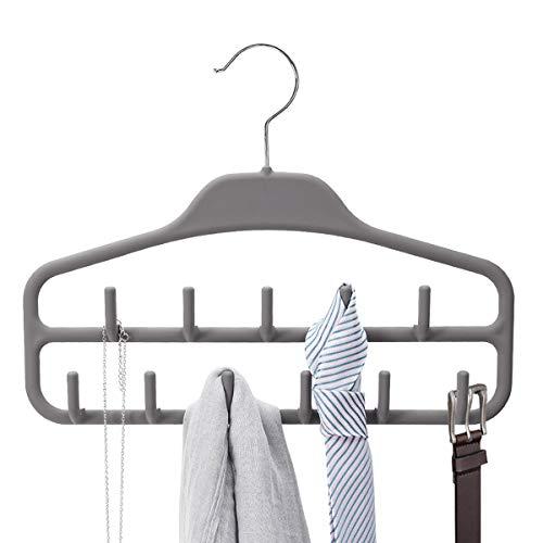 Belt Hanger Rack Holder, Sturdy Belt Organizer with 360 Degree Swivel, 11 Large Belt Hooks for Closet, Non Slip Rubberized Belt Storage, Gray