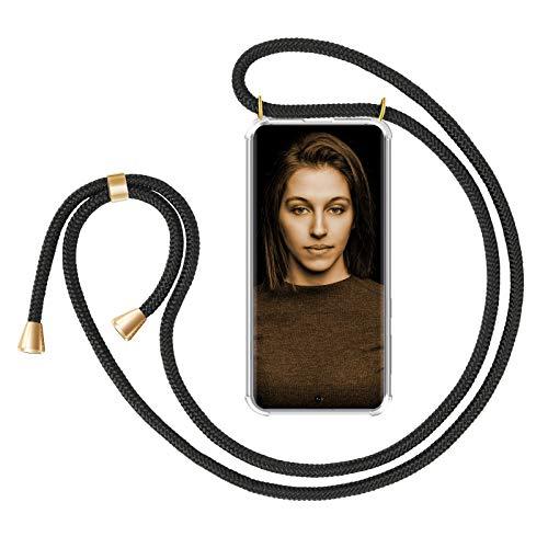 ZhinkArts Handykette kompatibel mit Samsung Galaxy A71 (A715) - Smartphone Necklace Hülle mit Band - Handyhülle Hülle mit Kette zum umhängen in Schwarz - Gold
