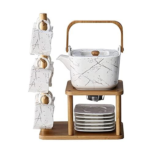 Juego de té de cerámica de mármol de imitación de Europa del Norte con soporte de madera, 7 piezas, una de las seis tazas taza de agua
