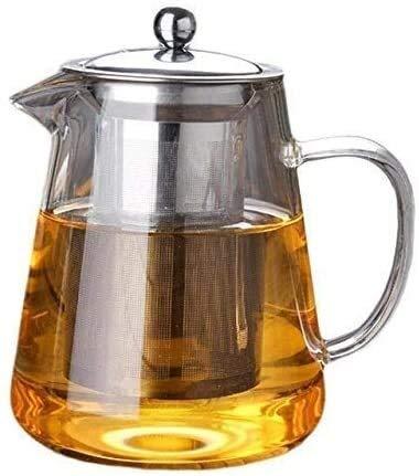 HongLianRiven Tetera de Vidrio Tetera y Tetera de Vidrio Resistente al Calor y el Juego de té, con Filtro de Acero Inoxidable, Tetera de café Resistente al Calor, Tetera Transparente (Color : 950ml)