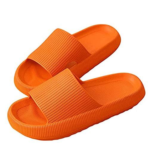 Yagerod CloudFeet Ultra-Soft Slipper, Pillow Slides Sandalen Ultra-Soft Slipper Extra Soft Cloud Schuhe Anti-Rutsch, Unisex Schnelltrocknender, verdickter, Rutschfester Slipper ORANGE 40-41