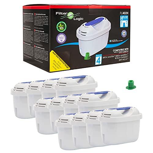 FilterLogic FL402H Cartucce filtranti, compatibile con BRITA Maxtra per caraffa filtrante Elemaris/Marella/Navelia/Fjord/Fun, confezione 12 filtri per acqua