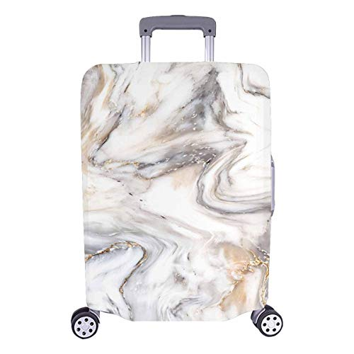 InterestPrint Abstract White Golden Marble Stone Luggage Case Protective Baggage Suitcase Cover for 26'-28' Luggage
