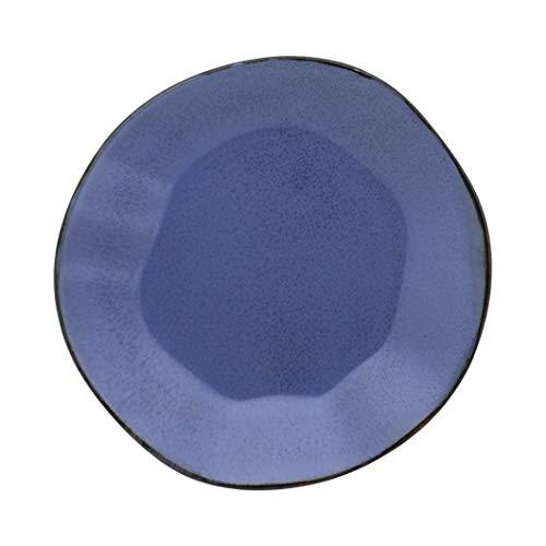 1 Cj C/6 Pratos Fundo 22, 5cm Ryo Santorini - Rm01-9510 Oxford Ryo Azul E Marrom Escuro