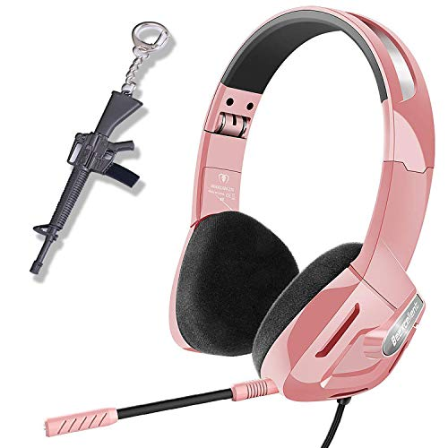 SVYHUOK Pink Gaming Headset for Girl, Women, Kids, PC, PS4, New Xbox One, Foldable On-Ear Headphone with Detachable Mic, Stereo 30MM Speaker Driver Unit Gift for Children, Younger, Teenager