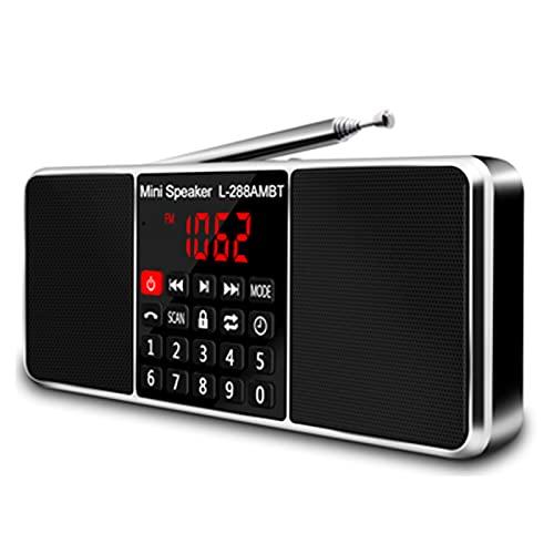 YourBooy Radio Portátil Digital Am FM, Altavoz Inalámbrico Bluetooth, con Reproductor De MP3, Ranura para Tarjeta TF/SD, Unidad USB, Llamada Manos Libres, Altavoces con Pantalla LED,Negro