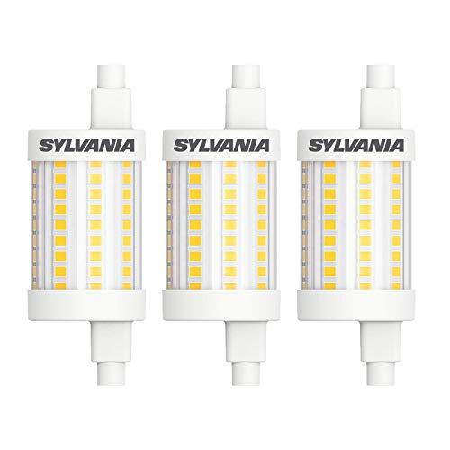 Sylvania Bombilla LED R7S de 78 mm, repuesto halógeno LED (8 W, 1055 lm, color de la luz: 2700 K), luz blanca cálida (3 x) [Clase energética A++]
