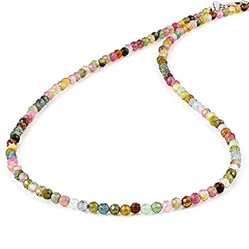 Multi turmalina semipreciosa de una capa collar para mujeres/niñas 45 cm turmalina collar de piedras preciosas multicolor collar de cuentas de piedras preciosas collar regalo de cumpleaños para ella