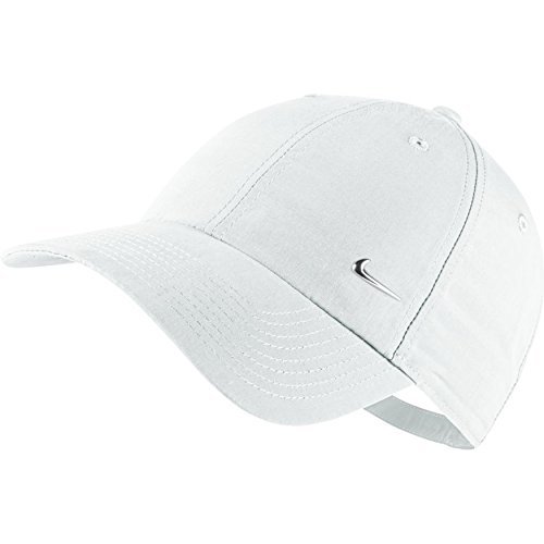 Nike Metal Swoosh Cap - Gorra para hombre, talla única, color blanco / plateado