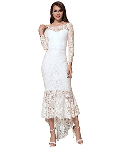 ohyeah Women Solid Formal Lace Maxi Dress Long Sleeve Off Shoulder Elegant Party Gown Mermaid Dress (XX-Large=US 8-10, White)