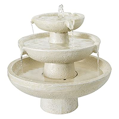 Small Solar Powered Water Feature Ivory Three Tier Fountain PC500