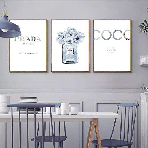 NoNo Parfümflasche Poster Zitate Kunstdrucke Parfüm Blume Leinwand Malerei Wandkunst Dekoration Blaue Wandbilder für Wohnzimmer 40cmx60cmx3 STK.Kein Rahmen