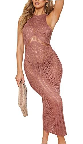 Orshoy Gestrickte Bikini Cover Up Strandponcho Strandkleid für Damen Sommer Pareos Lange Sommer Bademode Strand Sommerkleid Gestrickte Dunkelrosa