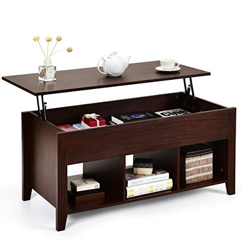 Tangkula Lift Top Coffee Table, with Hidden Storage Compartment and Shelf for Home Living Room, Accent Home Furniture, Wooden Lift Tabletop Storage Coffee Table (Espresso)