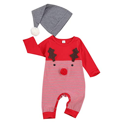 IWEMEK Newborn Toddler Baby Boys Girls My 1st Christmas Outfits Xmas Costume Reindeer Snowman Cotton Romper Long Sleeve Bodysuit Jumpsuit + Hat 2pcs Set Autumn Winter Clothes Red Reindeer 0-3 Months