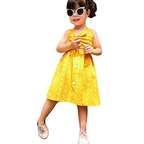 Julhold Sommer Kleinkind Baby Mädchen Elegante Ärmellos Punktedruck Weste Bowknot Schlank Baumwollkleid Kleidung 0-3 Jahre