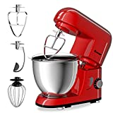 COSTWAY Stand Mixer 4.3 Quart 6-Speed 120V/550W 3 Attachments Offer Tilt-head Electric Food Mixer...