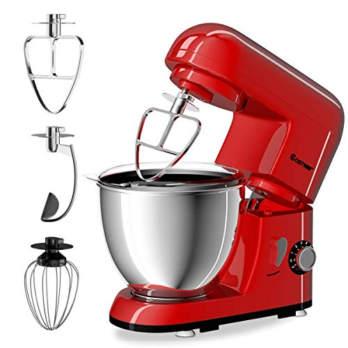 COSTWAY Stand Mixer 4.3 Quart 6-Speed 120V/550W 3 Attachments Offer Tilt-head Electric Food Mixer w/Stainless Steel Bowl (Red)