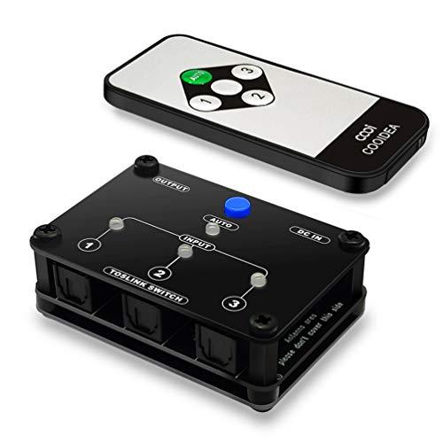 Conmutador Audio Digital 3 Entradas 1 Salida Automatic Switch Óptico Toslink SPDIF con Mando inalámbrico Soporte PCM2.0 DTS Dolby-AC3 para PS3 VHS Blue-Ray DVD HDTV Barra de Sonido Amplificado