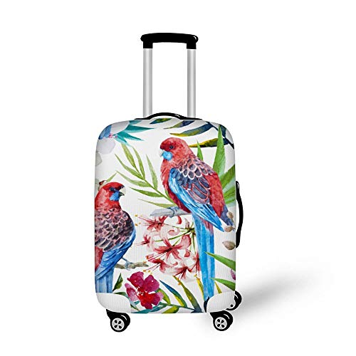Mesllings Travel Bagage Cover Koffer Beschermer Past 18-32 Inch Bagage Retro Vintage Aquarel Planten Papegaai Patroon