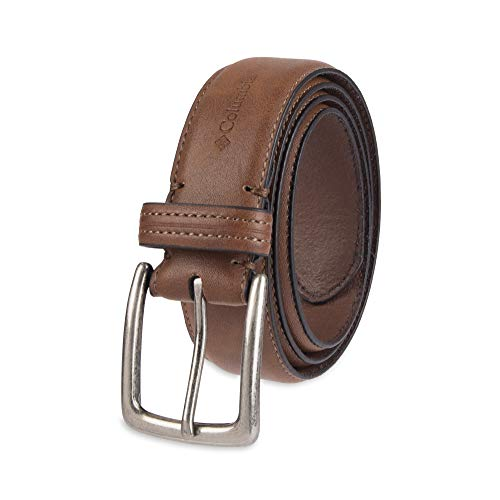 Columbia Men's Casual Leather Belt -Trinity Style for Jeans Khakis Dress Leather Strap Silver Prong Buckle Belt,Tan,36