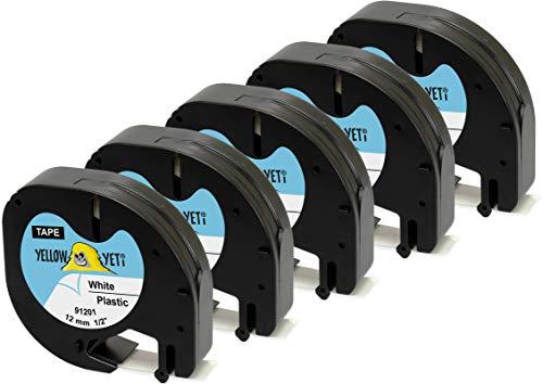 Yellow Yeti 5 Cassette Nastri 91201 S0721610 S0721660 nero su bianco 12mm x 4m Etichette in Plastica compatibili per Etichettatrici DYMO LetraTag LT-100H LT-100T LT-110T QX50 XR XM 2000 Plus