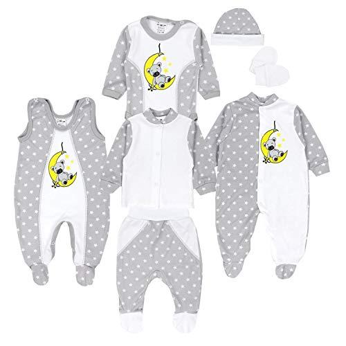 TupTam Baby Bekleidungsset Erstausstattung Sterne 7 teilig, Farbe: Bär auf Mond/Grau, Größe: 56